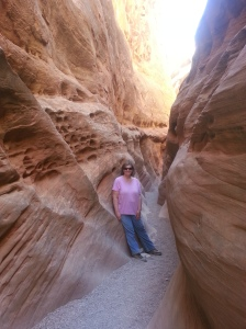 Towards the end of an 8-mile hike through slot canyons.