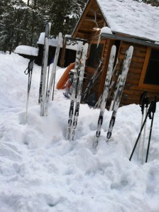 skis and cabin