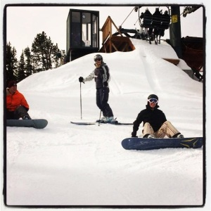 students ski