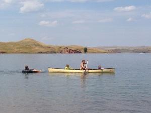 canoe and boys