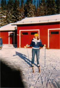 Getting ready to ski in Sweden.